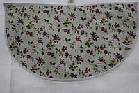 Полотенце льняное полукруглое с розовыми цветам