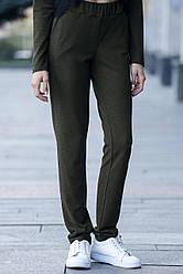 Трикотажные брюки Frida цвета хаки в стиле спорт-шик с глубокой посадкой