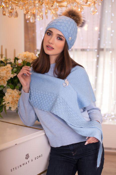 Зимний женский комплект «Жасмин» (шапка и бактус) Голубой