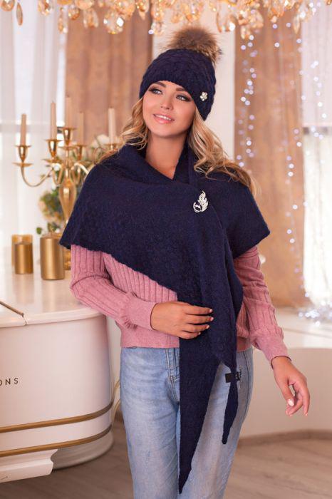 Зимний женский комплект «Жасмин» (шапка и бактус) Джинсовый