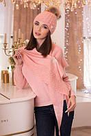 Зимний женский комплект «Жасмин» (шапка и бактус) Пудра