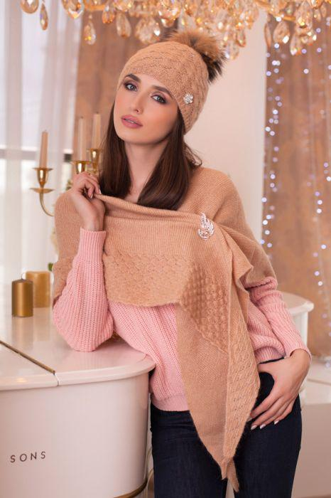 Зимний женский комплект «Жасмин» (шапка и бактус)