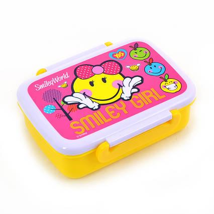 "706201 Контейнер для еды ""Smiley World""(pink), 420 мл, с разделителем"