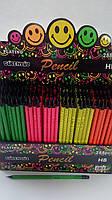 """Цветные карандаши простые с резинкой в дисплее №56312-3 """"Смайлы""""4 цвета / НВ"""