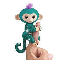 WowWee Fingerlings Блестящая интерактивная ручная обезьянка Glitter Quincy Baby Monkey Interactive