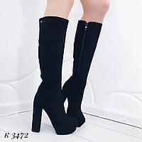 Женские замшевые сапоги ботфорты на высоком каблуке