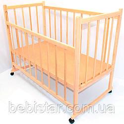 Деревянная детская кроватка с качалкой на колесах Ольха Светлая