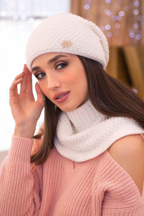 Зимний женский комплект «Дуглас» (шапка и шарф-хомут) Белый