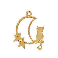 """Подвеска """" Полумесяц """", Кошка, Звёзды, 27 мм x 22 мм, Рамка для заливки эпоксидной смолы, Золото"""