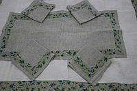 Полотенце серое с зеленым 50х100, лен 100%