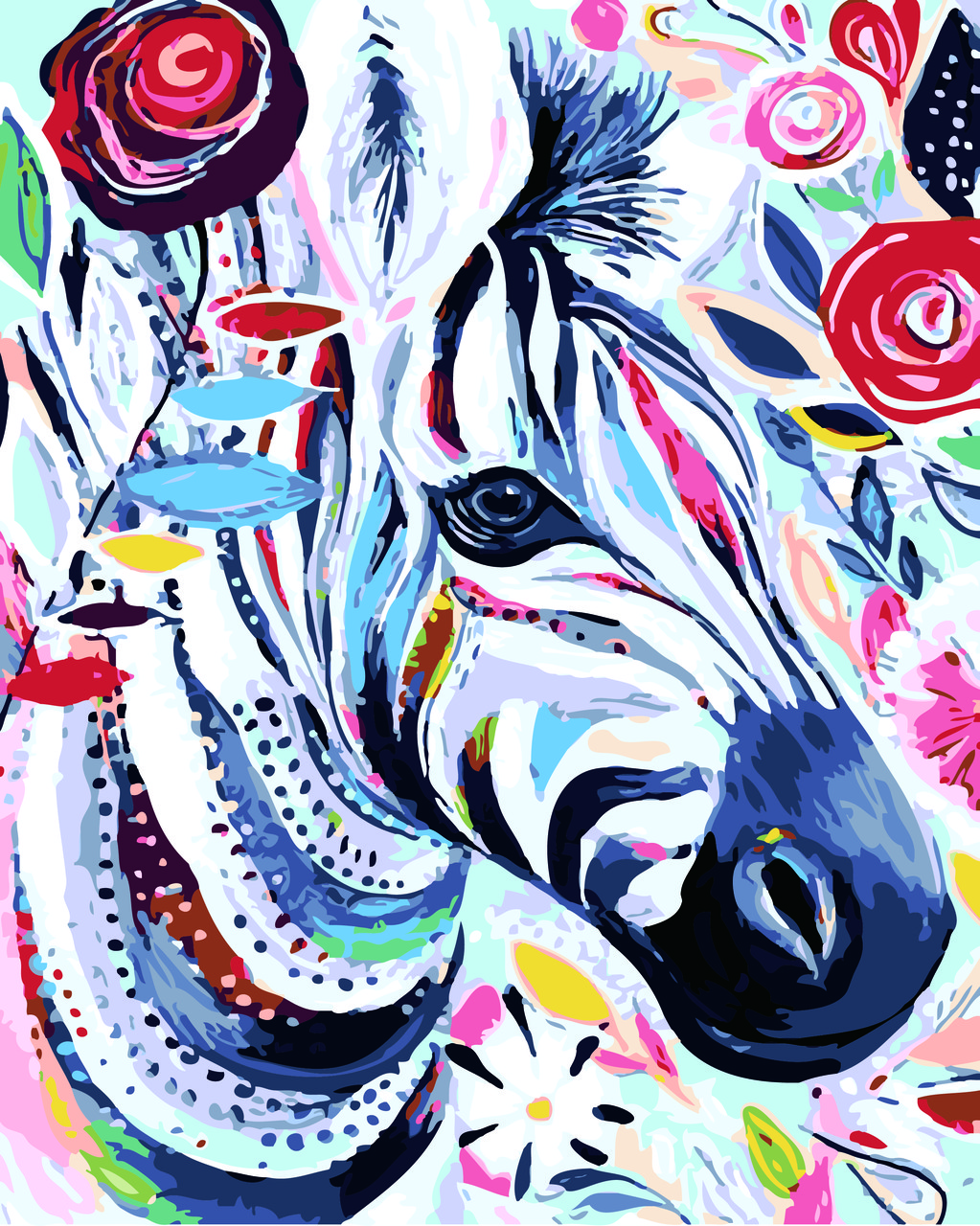 Картина по номерам Яркая зебра, 40x50 см., Домашнее искусство