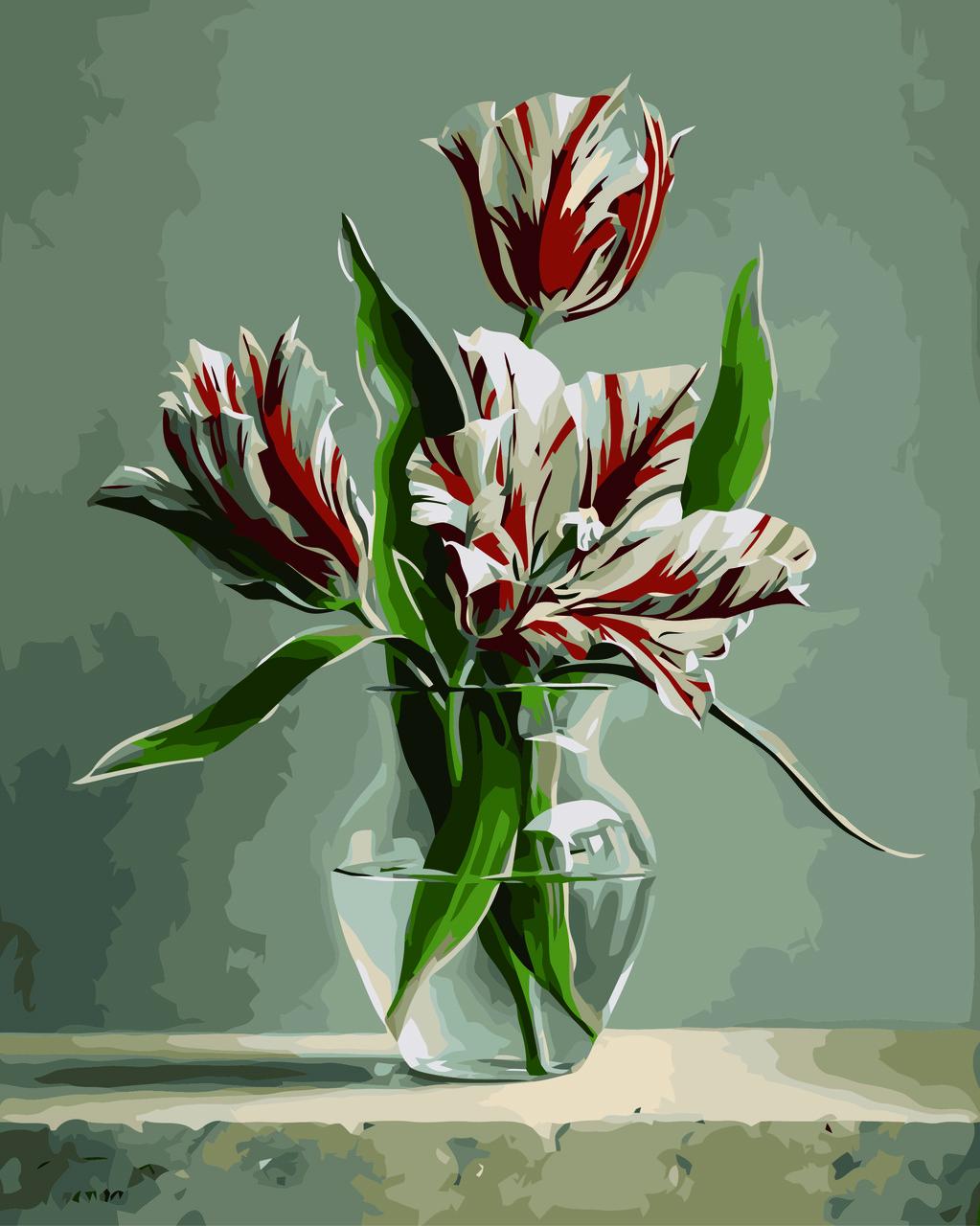 """Картина по номерам """"Тюльпаны в в вазе (Худ. Питер Вагеманс)"""", 40x50 см., Домашнее искусство"""