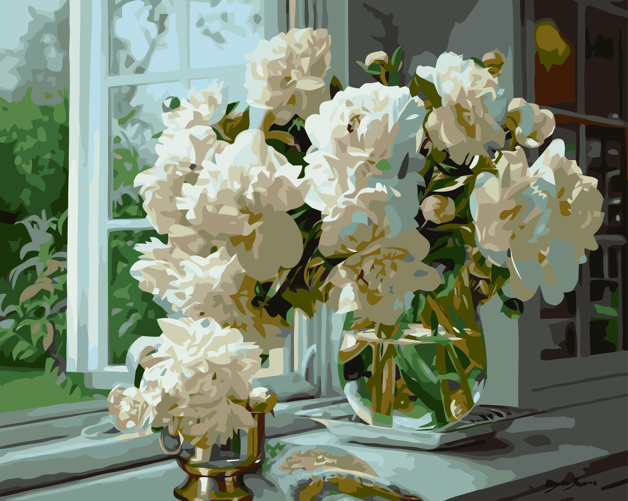 Картина по номерам Пионы на окне (Худ. Копания Збигнев), 40x50 см., Домашнее искусство