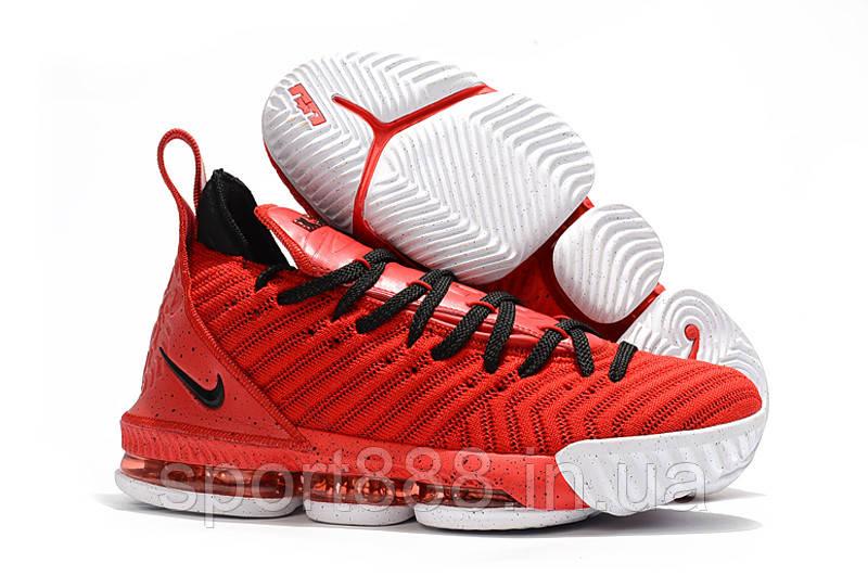 Nike LeBron XVI Red White-Black Леброн 16 мужские кроссовки  продажа ... 08499df53ca