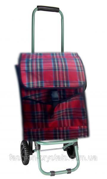 Хозяйственная складная сумка на колесах шотландка