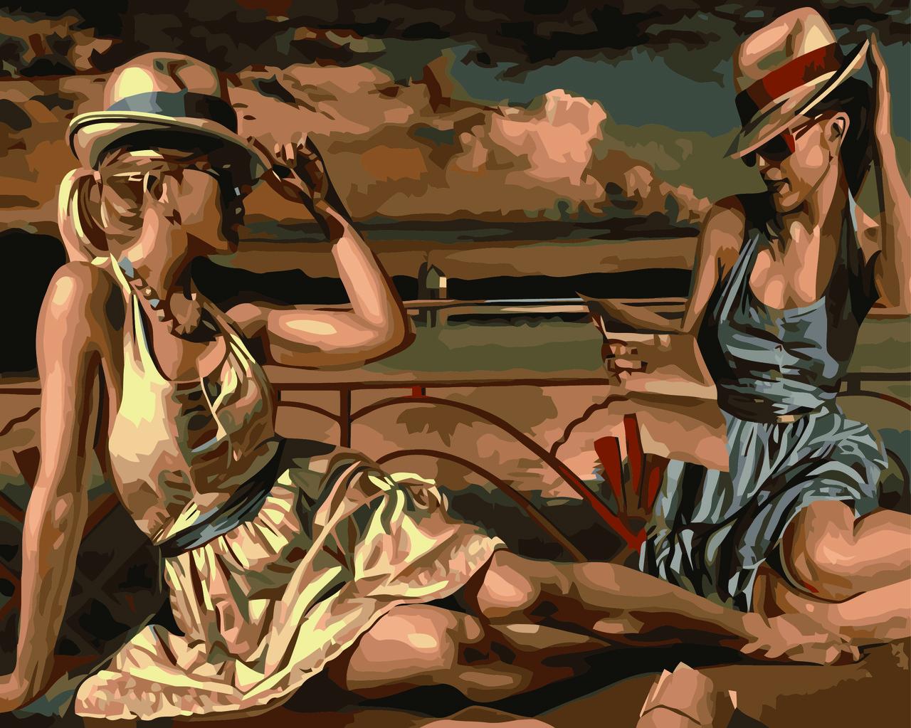 Картина по номерам Две красотки (Худ. Хиткот Перегрин), 40x50 см., Домашнее искусство