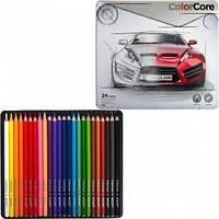 """Цветные карандаши ColorCore 24 цвета №3100-24TN """"MARCO"""" (в металлической упаковке) NEW (ящ36)"""