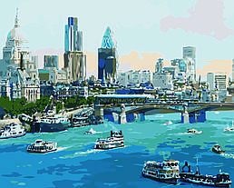 Картина по номерам Лондон, Мост Ватерлоо (Худ. Александр Чен), 40x50 см., Домашнее искусство