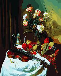 Картина по номерам Натюрморт с скрипкой и цветами, 40x50 см., Домашнее искусство