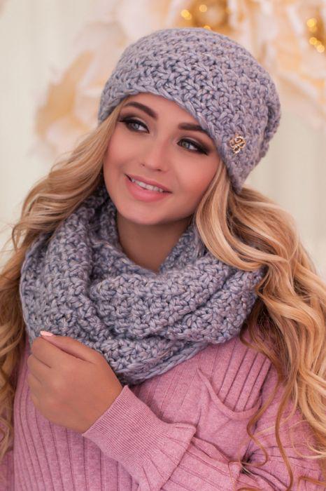 Зимний женский комплект «Маранда» (шапка и шарф-снуд) Светло-серый + голубой