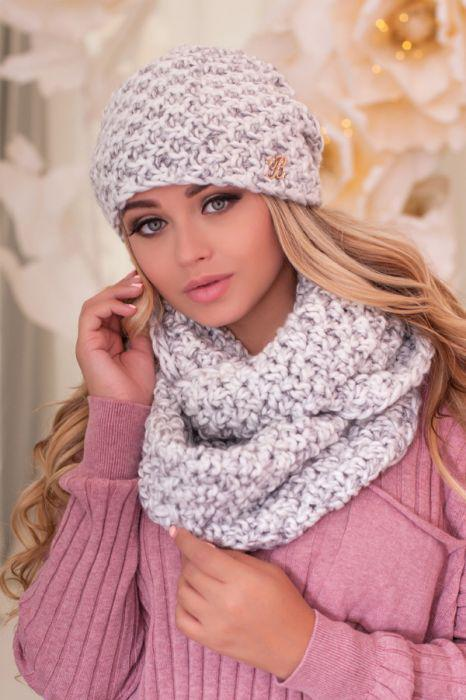 Зимний женский комплект «Маранда» (шапка и шарф-снуд) Белый + серебряный