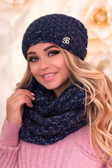 Зимний женский комплект «Маранда» (шапка и шарф-снуд) Джинсовый + маренго