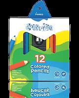 """Цветные карандаши Colorite 12 цветов №1450-12CBS """"MARCO""""  """"JUMBO""""+точилка (уп12\72)"""