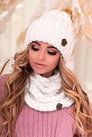 Зимний женский комплект «Лорис» (шапка и шарф-хомут) Белый