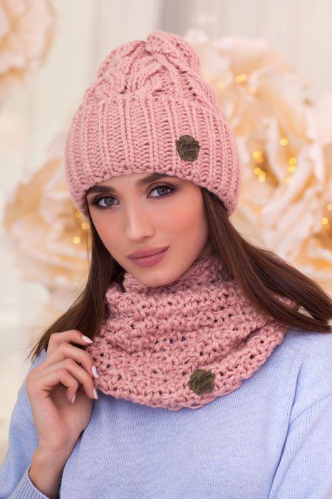 Зимний женский комплект «Лорис» (шапка и шарф-хомут) Пудра