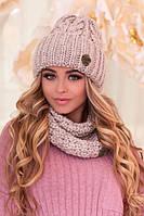 Зимний женский комплект «Лорис» (шапка и шарф-хомут) Светлый кофе