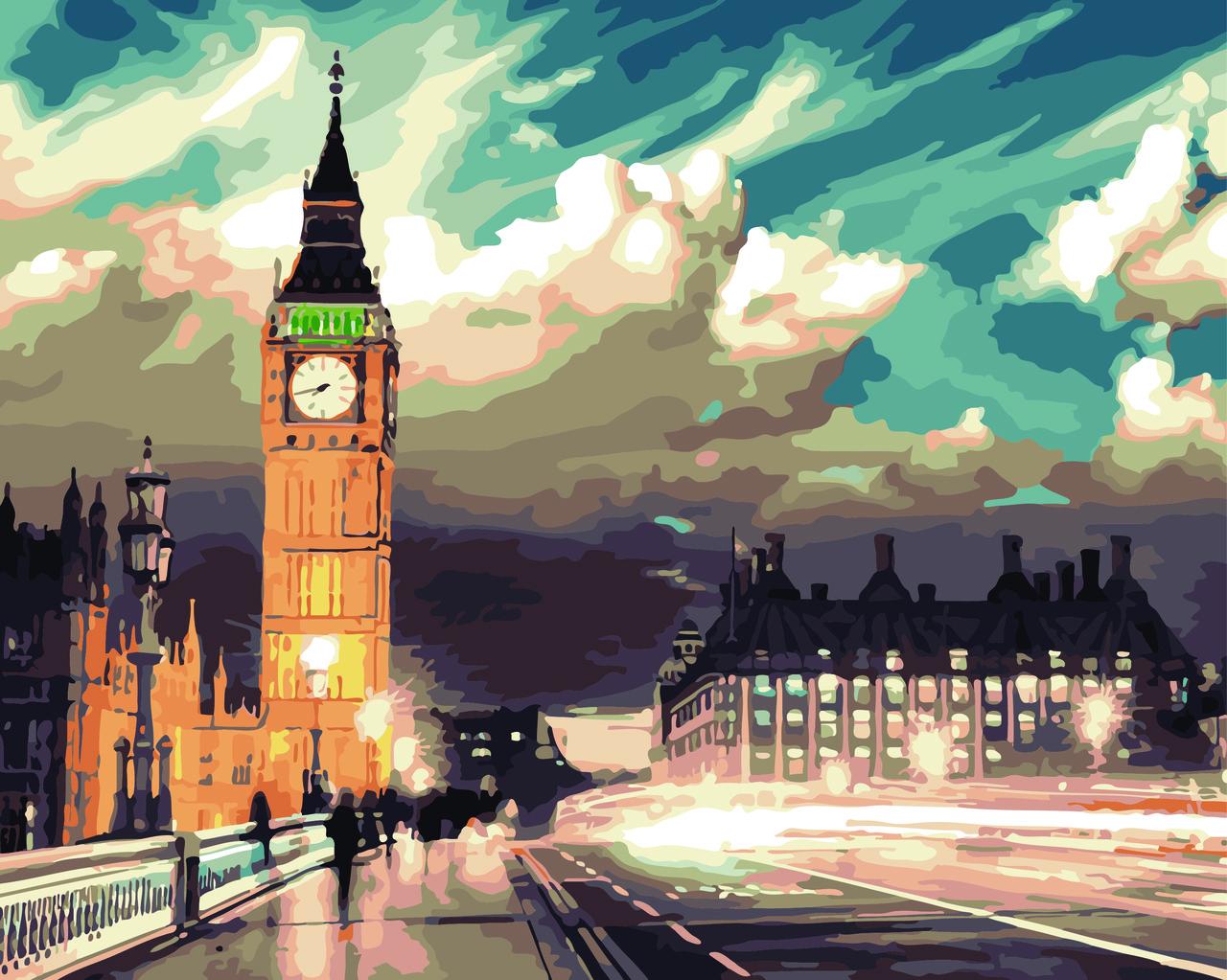 """Картина по номерам """"Ночной Лондон"""", 40x50 см., Домашнее искусство"""