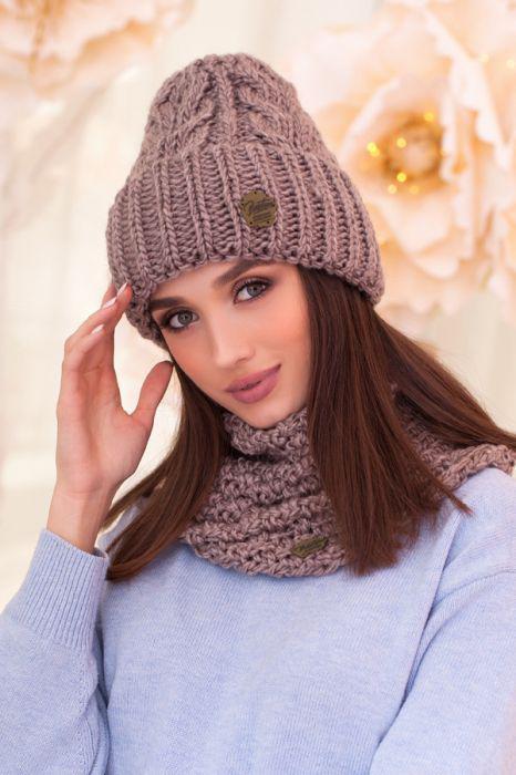 Зимний женский комплект «Лорис» (шапка и шарф-хомут) Темный кофе