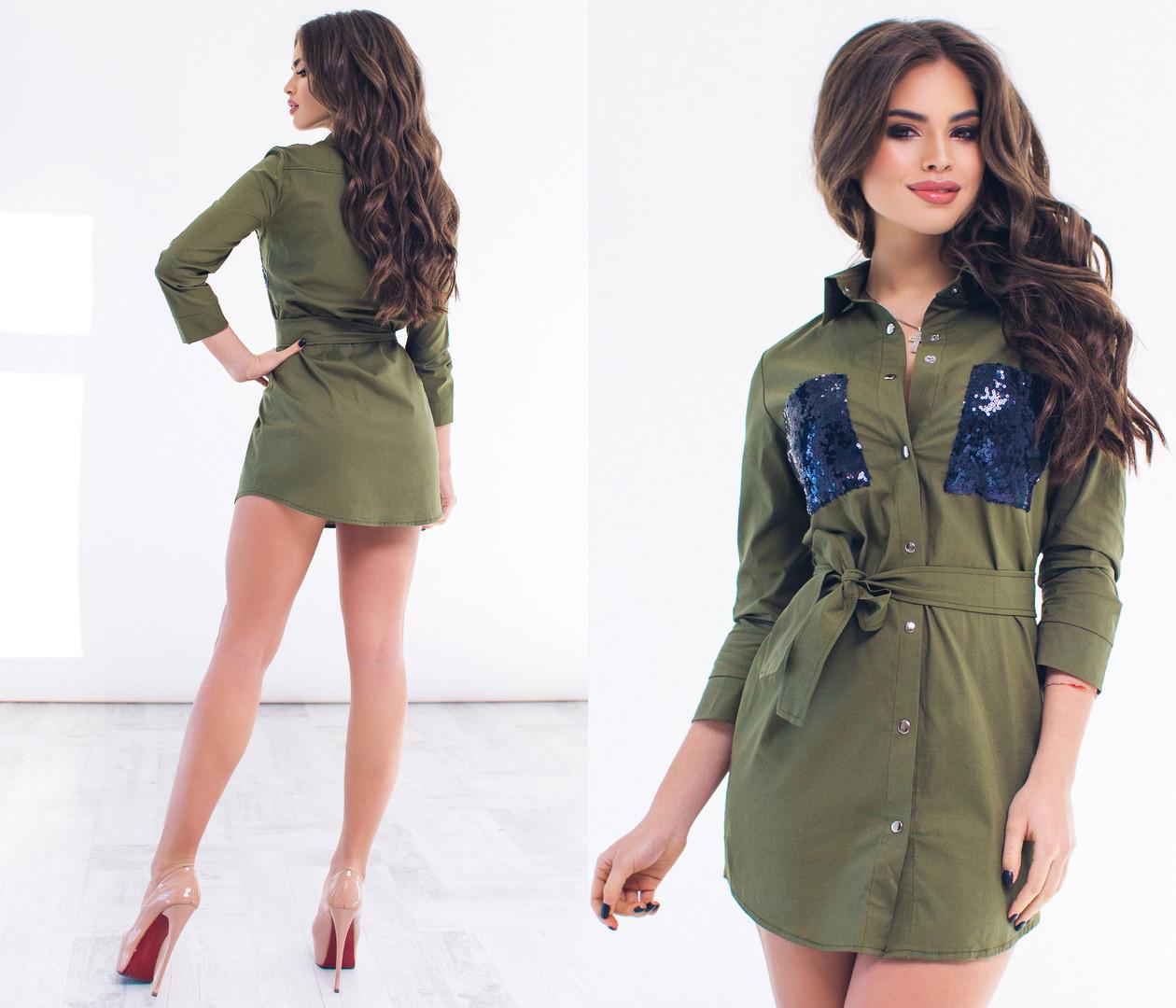 Короткое платье рубашка декорировано пайеткой / 5 цветов арт 6364-93
