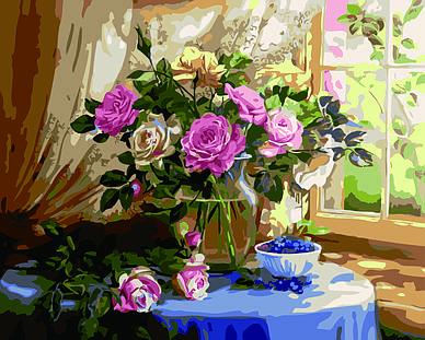 """Картина по номерам """"Натюрморт с розами и черникой. (Худ. Жанна Когай)"""", 40x50 см., Домашнее искусство"""
