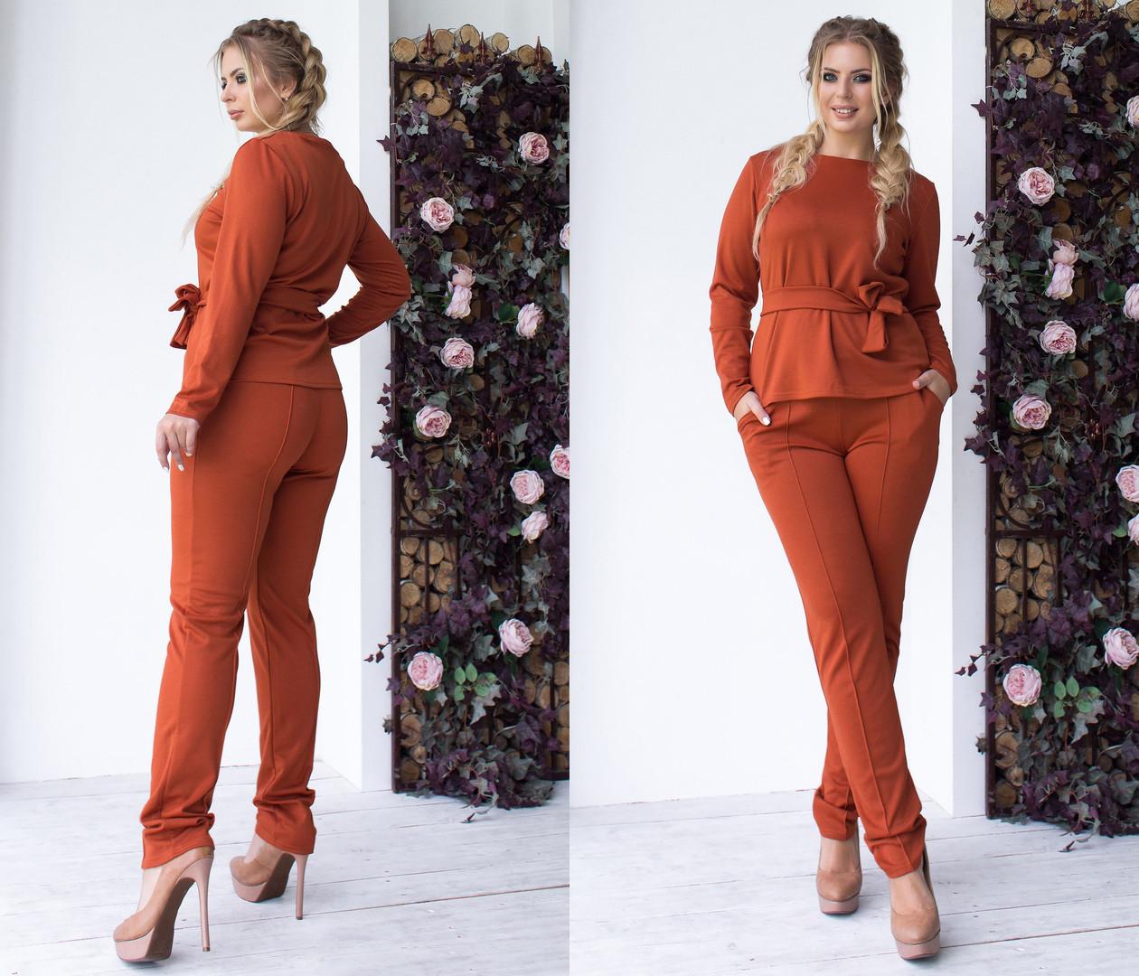 Женский трикотажный костюм больших размеров 48+  с поясом, на штанах стрелки / 5 цветов  арт 6368-93