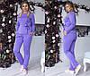 Женский трикотажный костюм больших размеров 48+  с поясом, на штанах стрелки / 5 цветов  арт 6368-93, фото 4