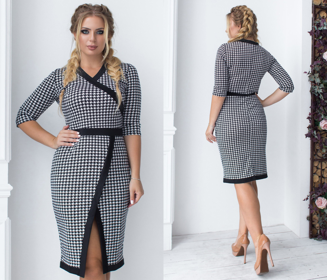 Приталенное платье миди больших размеров 48+ принт гусинная лапка арт 6369-93