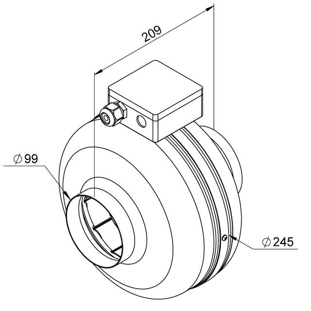 Razmer ventiliatora Ruck RS 100 EC