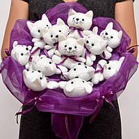 Букет из котиков. Оригинальный подарок девушке, ребёнку. Мягкие игрушки. На 8 марта