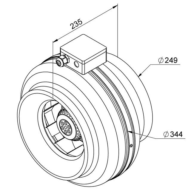 Razmer ventiliatora Ruck RS 250 EC
