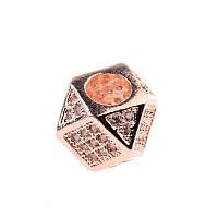 Бусина, многоугольник красное  золото