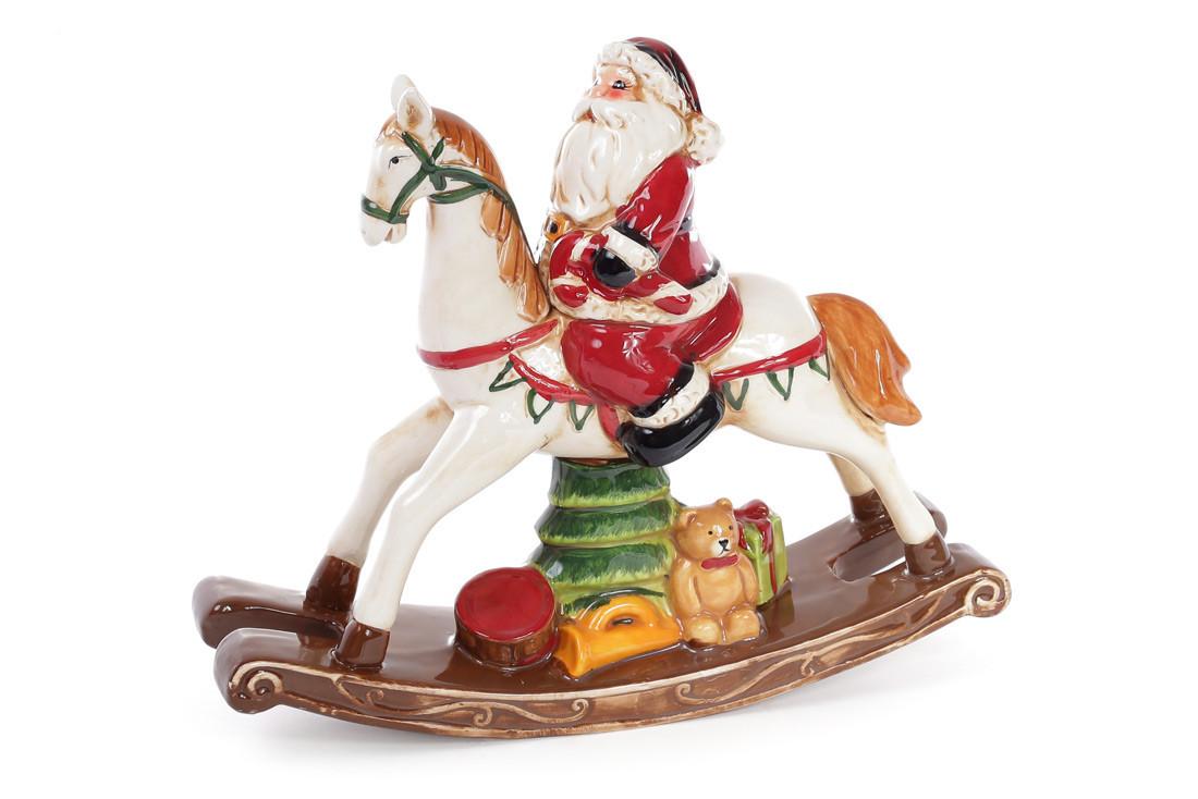 Декоративная статуэтка Санта на лошадке-качалке 26см (827-407)