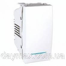 Вимикач одноклавішний одномодульні з підсвічуванням Unica Schneider,білі