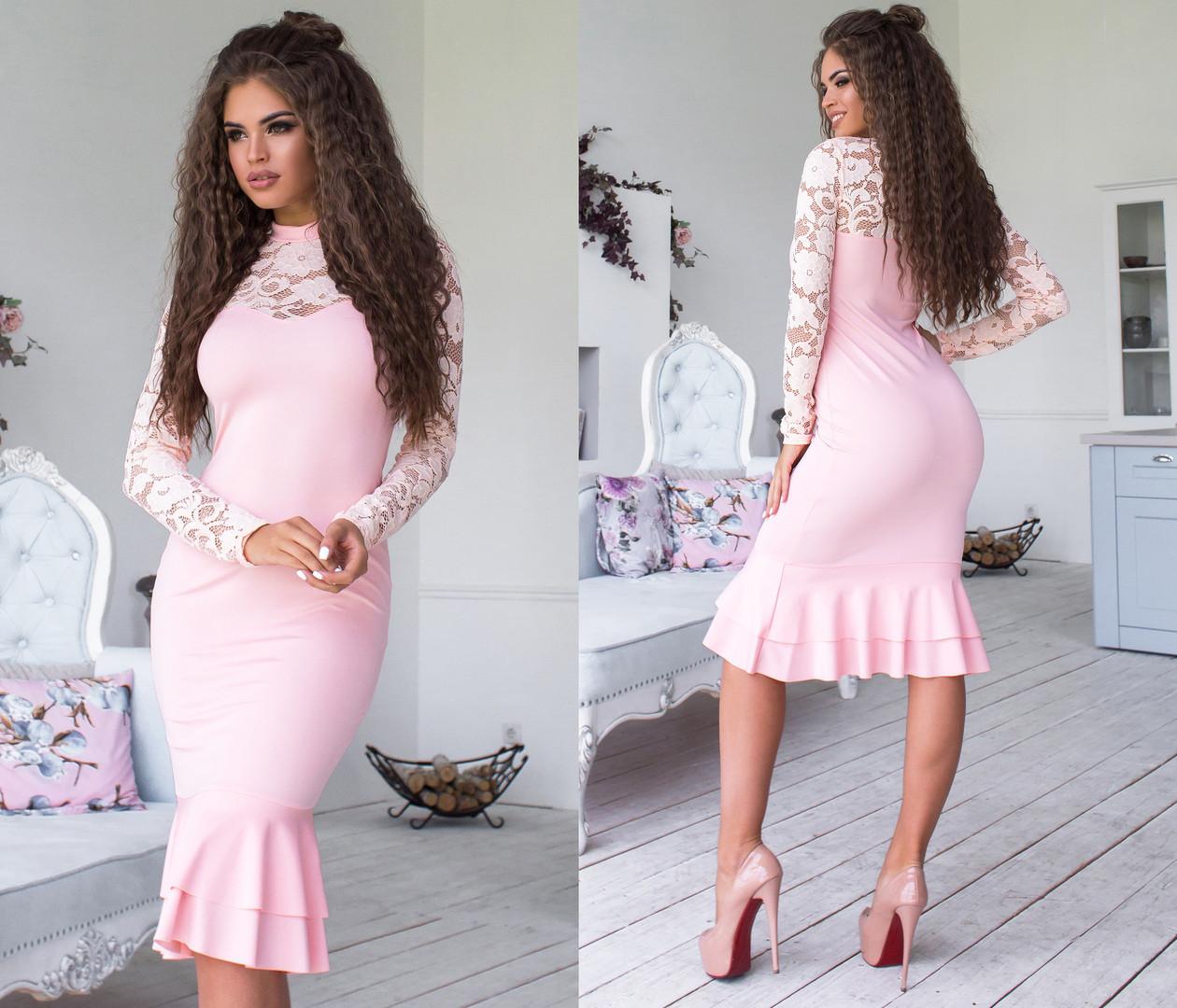 Облегающее платье миди с воланами, декорировано кружевом / 6 цветов арт 6371-93