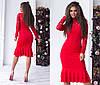 Облегающее платье миди с воланами, декорировано кружевом / 6 цветов арт 6371-93, фото 2