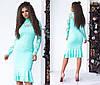 Облегающее платье миди с воланами, декорировано кружевом / 6 цветов арт 6371-93, фото 3