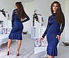 Облегающее платье миди с воланами, декорировано кружевом / 6 цветов арт 6371-93, фото 4