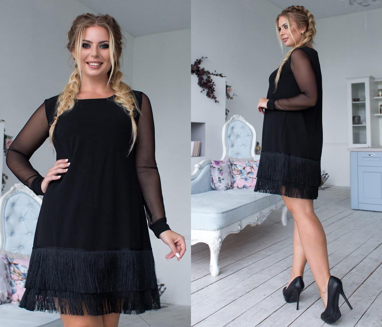 Платье больших размеров 48+ рукав сетка, декор шелковая бахрома  арт 6374-93