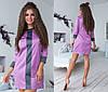 Короткое платье из атласа комбинированных расцветок / 2 цвета  арт 6378-93, фото 2