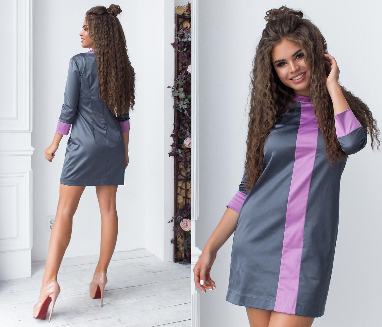 Короткое платье из атласа комбинированных расцветок / 2 цвета  арт 6378-93